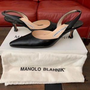 Manolo Blahnik Carolyne Low-Heel Slingback Pumps